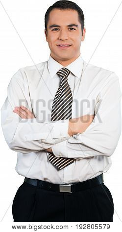 Business man businessman arms confident crossed white