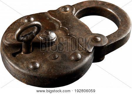 Key lock iron white background object isolated