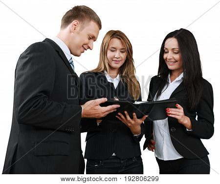 Business people meeting group greeting happy female