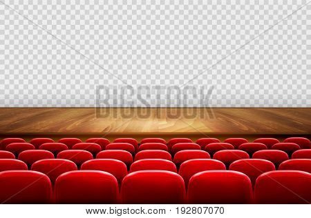 Rows of red cinema or theater seats in front of transparent background. Vector illustration