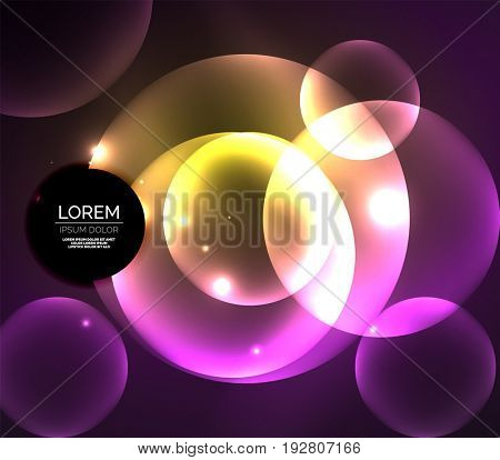 Glowing shiny overlapping circles composition on dark background, purple and yellow colors magic style light effects abstract design template