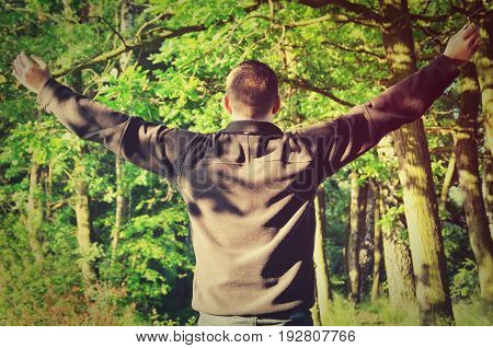 A man with his arms raised in the forest. Man who loves nature.