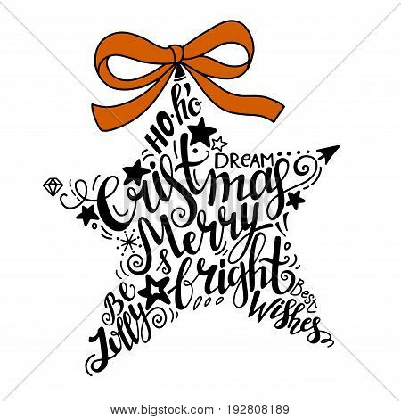 Vector Winter holidays illustration. Christmas silhouette star with greeting lettering. Holly jolly celebration. Christmas, New Year symbol.