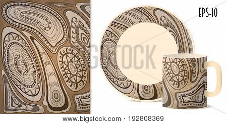 Hand drawn geometric tribal aztec pattern in retro style for decorate kitchenware cup dishes porcelain stationery. Mock-up of mug and saucer. eps 10.