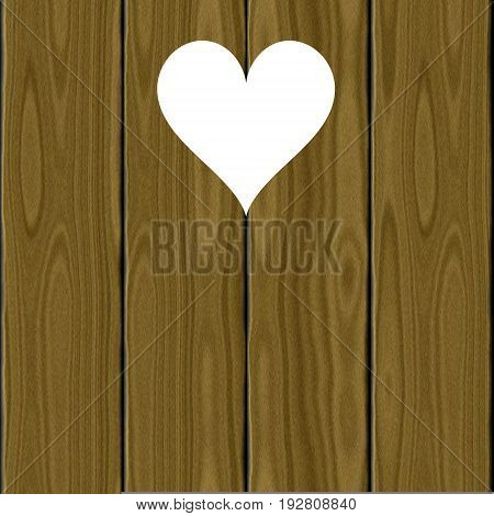 Wooden wood 3d planks with white heart shape