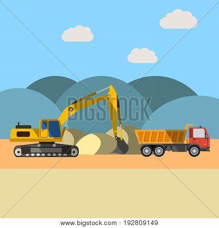 Quarry sand. Excavator loading sand into a dump truck. Construction and heavy equipment. Flat vector illustration.