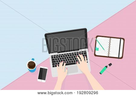 Overhead View Of Businesswoman Working At Computer In Office. Top view laptop vector illustration.
