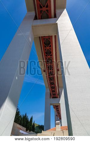 Bottom View Of The Construction Of The Bridge On April 25Th In Lisbon