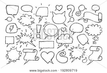 Set of hand drawn speech bubbles. Vector design elements on a white background
