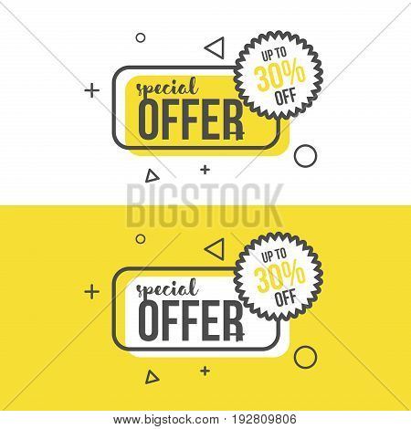 Special offer banner in flat style. Trendy line design sale template banner for shop or poster.