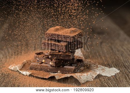 Chocolate sprinkled cocoa on paper