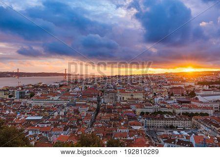 Lisbon Portugal cityscape - architecture background