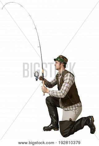 Man fishing rod fisherman sport leisure activity