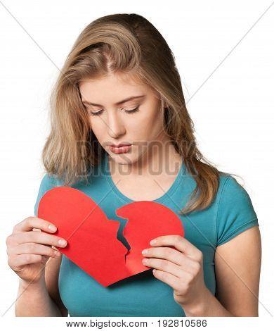 Red woman broken heart skin care hair salon hair style beautiful