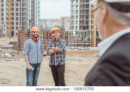 Male work building construction engineering occupation communication