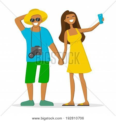Happy attractive couple on summer vacation. Smiling man with camera and a girl making selfie. Vector illustration. Cartoon style. Flat character isolated on white.