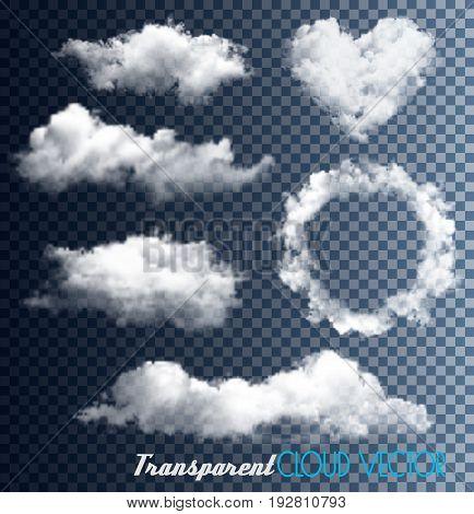 Big set of clouds on transparent background. vectors.