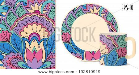 Hand drawn colorful pattern with flowers and mandala in zen style for decorate kitchenware cup dishes porcelain stationery. Mock-up cup and saucer. eps 10.