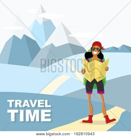 Joyful female traveler holding a map. Mountain isolated background. Vector illustration. Concept for exploring, adventure, hiking, vacation etc.