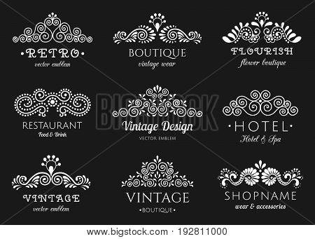Elegant retro flourish set. Ornate vintage logo design. Baroque style ornaments EPS 10 vector illustration. Isolated.