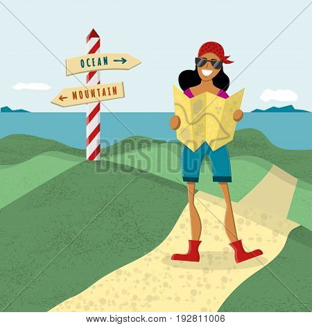 Joyful young girl holding a map. Isolated seaside background with road sign. Vector illustration. Concept for exploring.