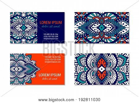 Indian style horizontal colorful ornate visiting card set. Front and back pages. Ornamental blanks with ethnic motifs. Oriental design concept. EPS 10 vector illustration. Clipping masks.