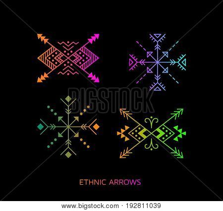 Colorful Aztec style ornamental arrow set. American indian ornate pattern design collection. Tribal decorative templates. Ethnic ornamentation. EPS 10 vector illustration.