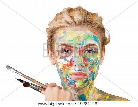 Face paint woman brushes paintbrushes color colorful