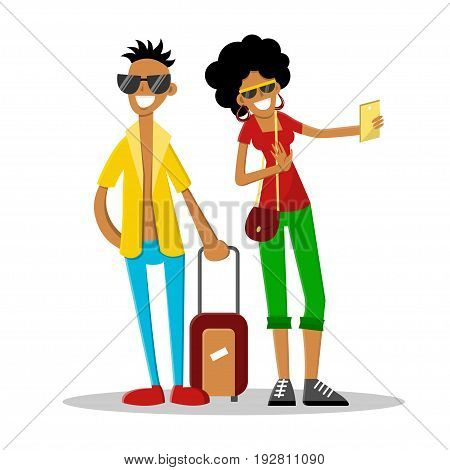 Happy attractive couple on summer vacation. Man with luggage and woman making selfie. Vector illustration. Cartoon style. Flat character isolated on white.