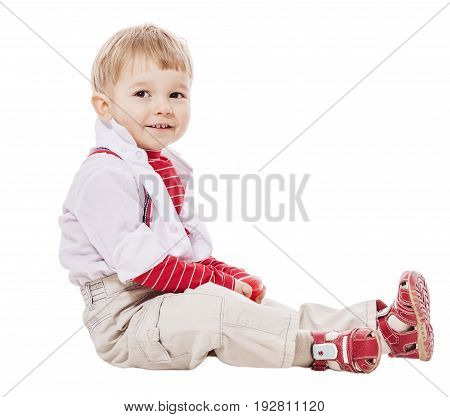 Two years Boy sitting look away isolated on white