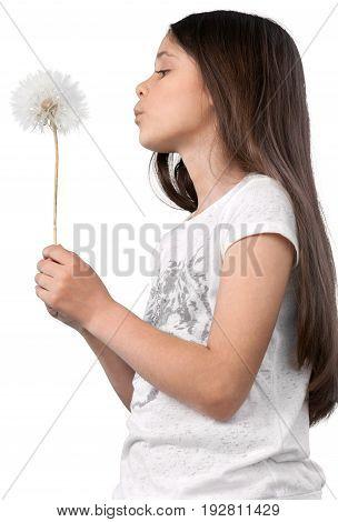 Girl cute little little girl white background brown hair human face