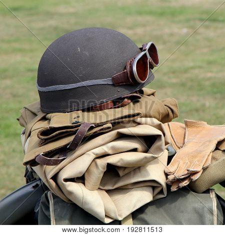 Vintage British Army Motorcycle Helmet, Goggles, Gloves And Waterproofs
