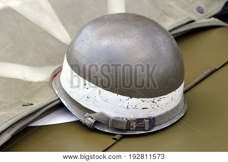 Vintage Us Army Helmet With White Band Denoting Mp Or Military Police