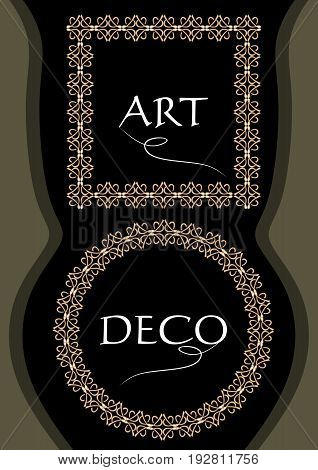 Elegant gorgeous golden frames square and circle shapes in art deco style useful for leaflet flyer product package decoration vector EPS 10