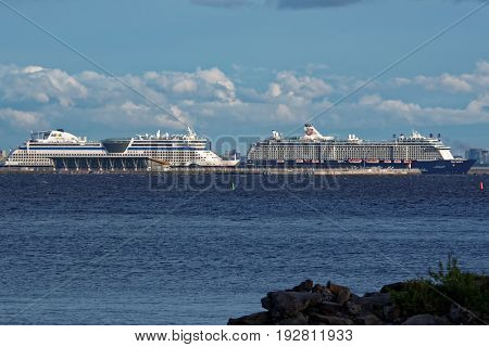 ST. PETERSBURG, RUSSIA - JUNE 1, 2017: Cruise liners in the Passenger Port of Saint Petersburg. It is the first and only specialized passenger port in the North-West of Russia