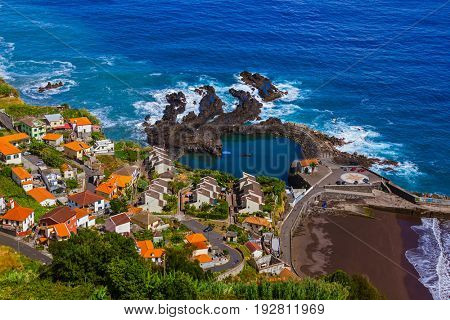 Village Seixal in Madeira Portugal - travel background