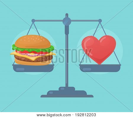 Heart and food balance on the scale