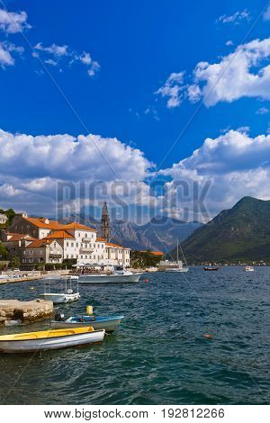 Village Perast on coast of Boka Kotor bay - Montenegro - nature and architecture background