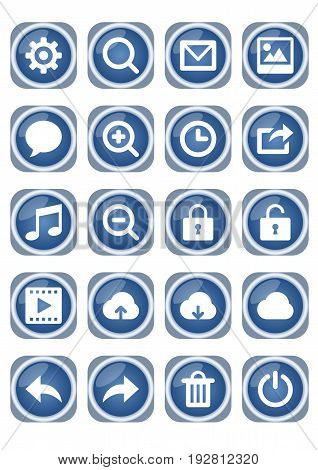 Web icon mega set blue metallic icons with white pictograms zoom speech bubble lock cloud trash and other vector EPS 10