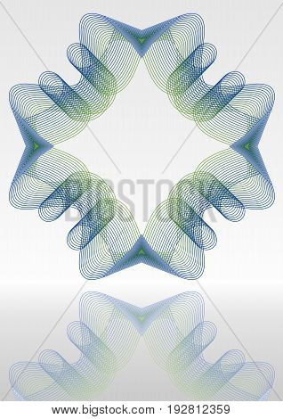 Abstract vector background with mirror blue and green guilloche patterns vector EPS 10