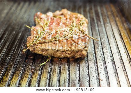 Grilled meat. Juicy steak from beef - soft focuse.