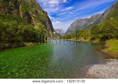 Fjord Sognefjord in Norway - nature and travel background