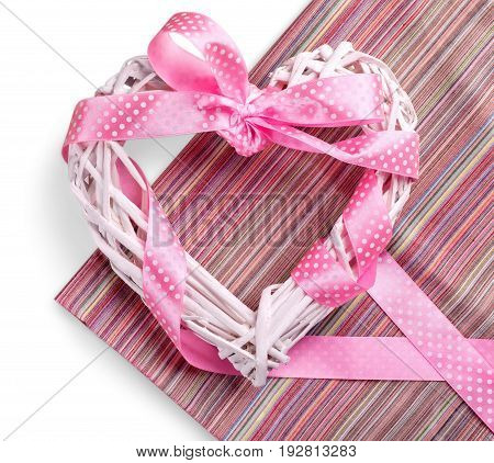 Decorative ribbon art cute pink heart background