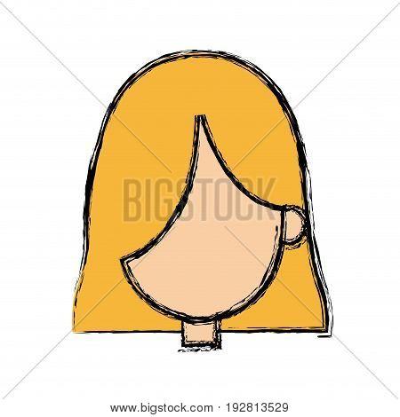 girl faceless character blonde short hair vector illustration