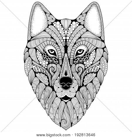 Hand-drawn wolf with ethnic floral doodle pattern. Coloring page - zendoodle stylize of dire wolf for relaxation and meditation for adults vector illustration isolated on a white background.