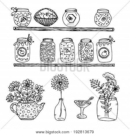 Doodle wooden shelves with a pot of jam and honey and mushrooms, jam in a vase and basket of apples teapot with flowers and a Bank of flowers, bottle with flower
