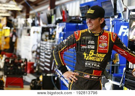 June 23, 2017 - Sonoma, CA, USA: Erik Jones (77) hangs out in the garage during practice for the Toyota/Save Mart 350 at Sonoma Raceway in Sonoma, CA.