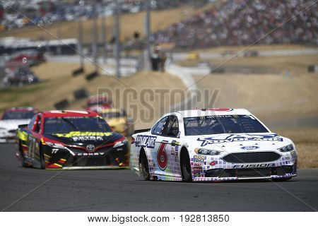 June 25, 2017 - Sonoma, CA, USA: Trevor Bayne (6) battles for position during the Toyota/Save Mart 350 at Sonoma Raceway in Sonoma, CA.
