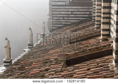 Italy Siena - December 26 2016: the view of the tiled roof and marble statues on Duomo di Siena on December 26 2016 in Siena Tuscany Italy.