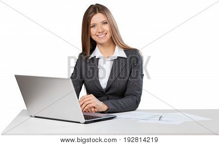 Business young woman laptop businesswoman background beautiful